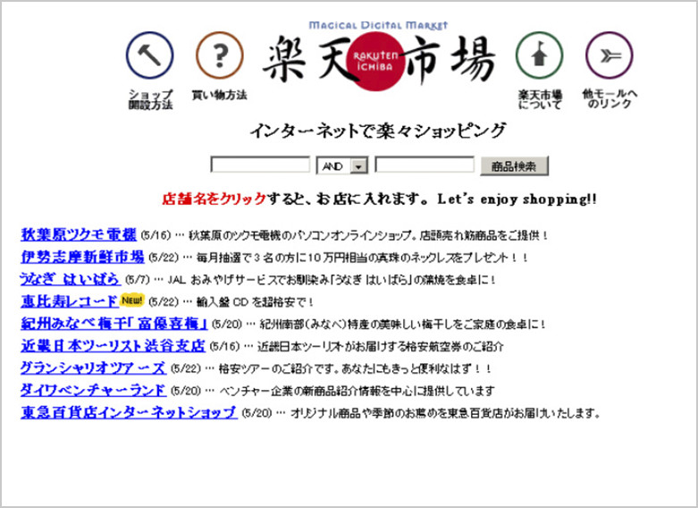 The top page of Rakuten Ichiba at the time of foundation