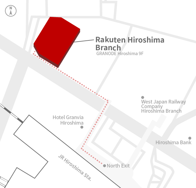 Access Map of Rakuten, Inc. Hiroshima office.