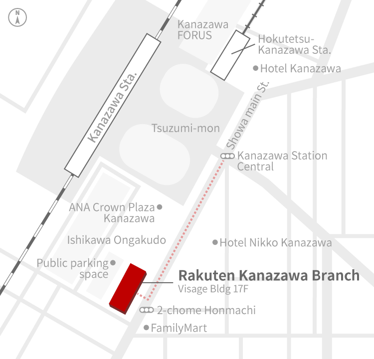 Access Map of Rakuten, Inc. Kanazawa office.