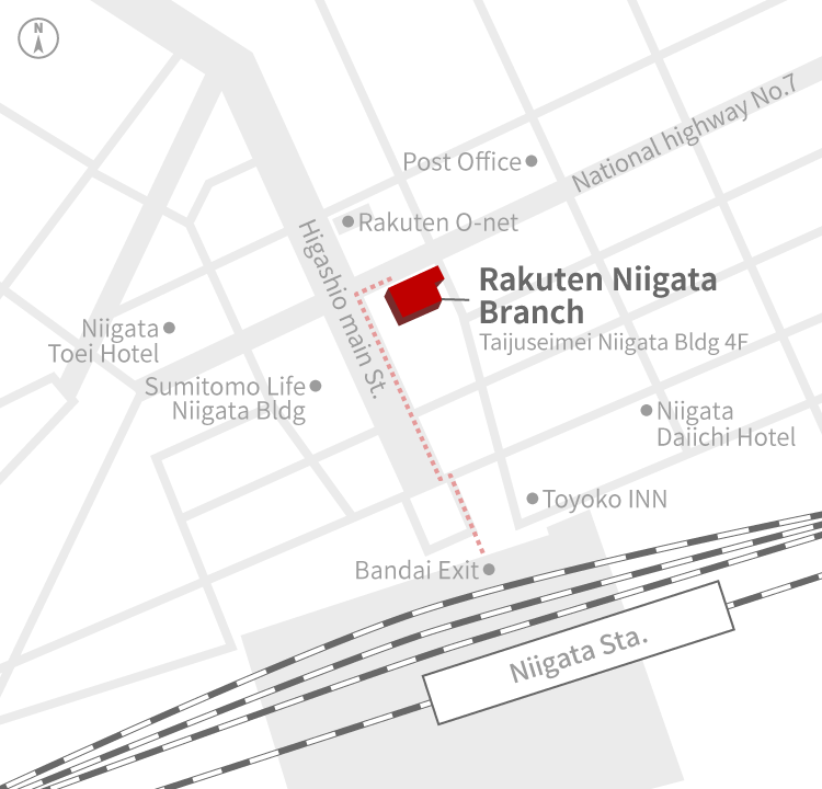 Access Map of Rakuten, Inc. Niigata office.