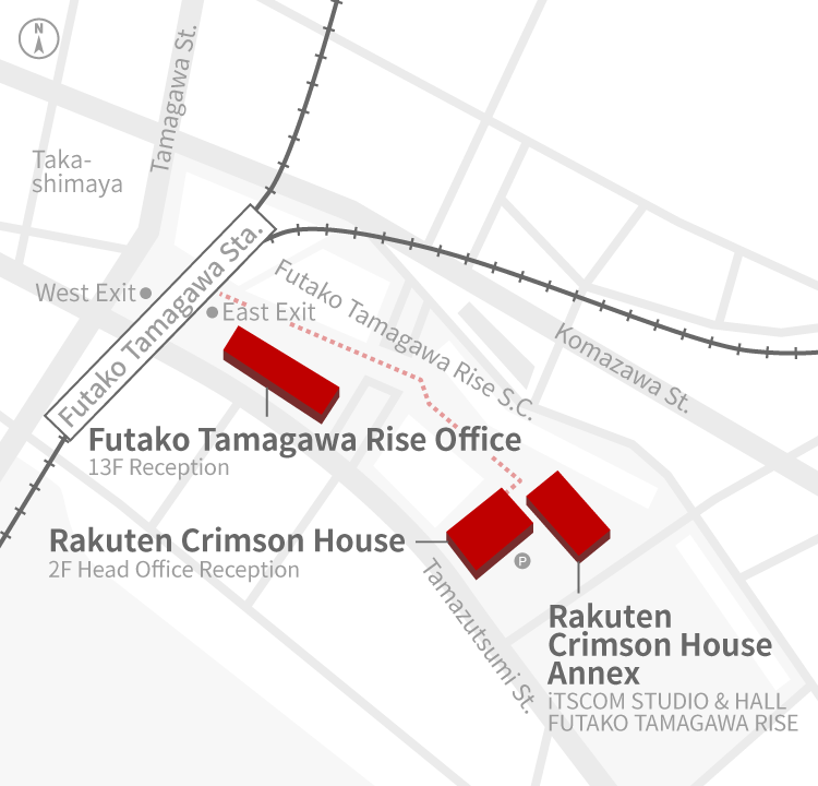 Access Map of Rakuten, Inc. Rakuten Crimson House office.