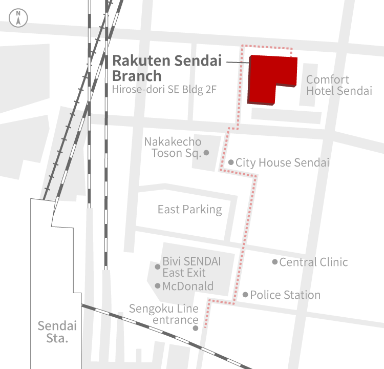 Access Map of Rakuten, Inc. Sendai office.