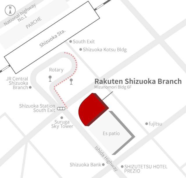 Access Map of Rakuten, Inc. Shizuoka office.