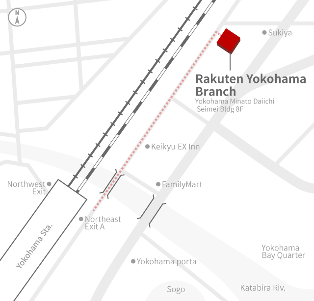 Access Map of Rakuten, Inc. Yokohama office.