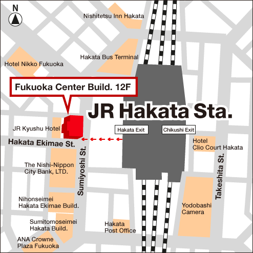 Access Map of Rakuten, Inc. Fukuoka office.