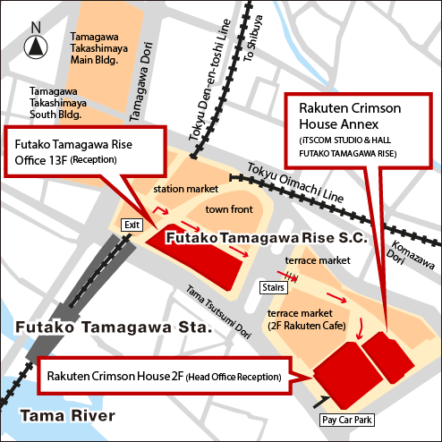 Access Map of Rakuten Crimson House, Futako Tamagawa Rise Office, and Rakuten Crimson House Anex.