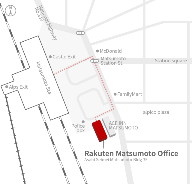 Access Map of Rakuten, Inc. Matsumoto Branch.