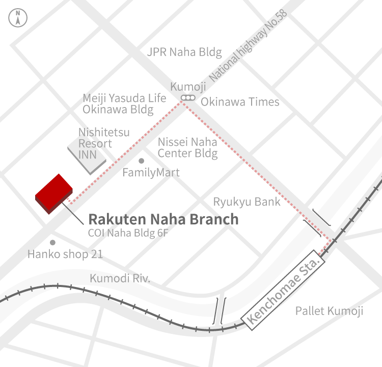 Access Map of Rakuten, Inc. Naha office.
